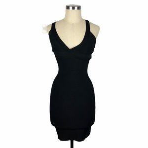 BEBE Black Strappy Bodycon Bandage Dress XS Sexy